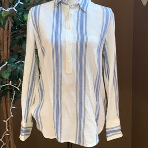 J. Crew blue and white light weight blouse